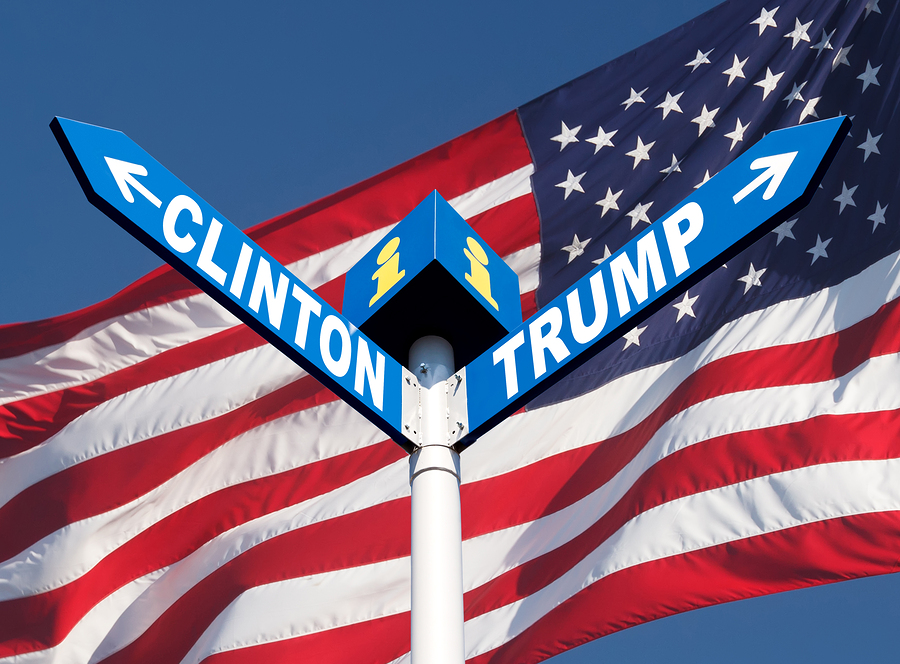WASHINGTON DC US - Sep. 29 2016: Presidential elections in the US. Names of Clinton and Trump written in a directional road signs against american flag