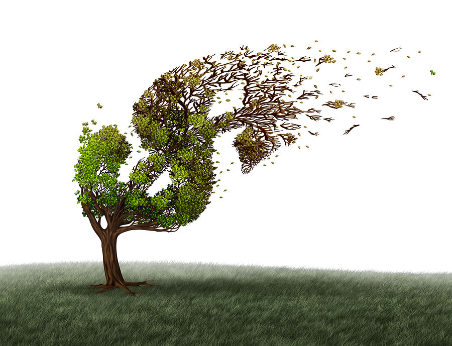 Economic turbulence and financial trouble and money adversity or economy crisis concept as a tree being blown by the wind and damaged or destroyed by the force of a storm as a business crisis metaphor with 3D illustration elements.